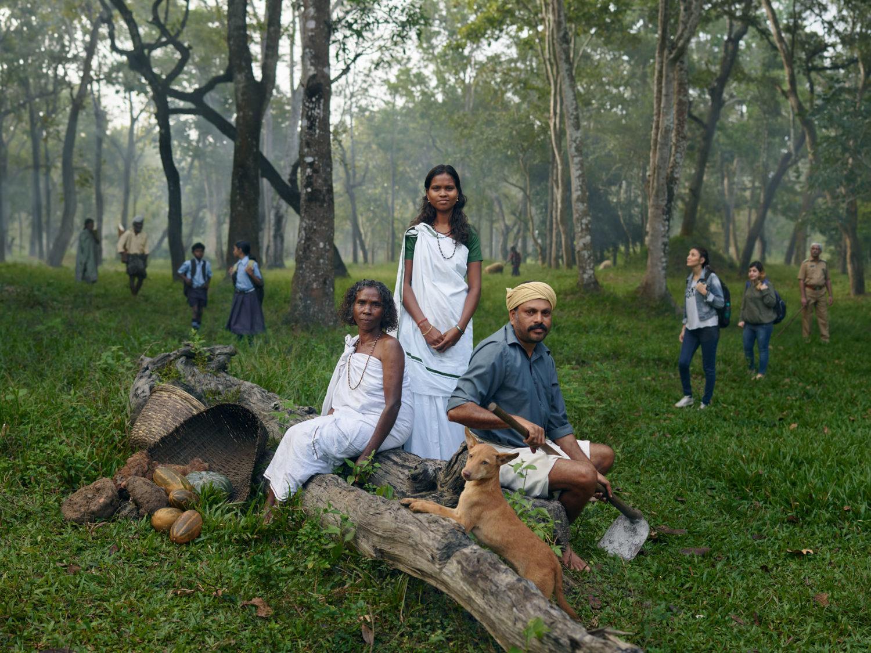 Tre persone sedute su un tronco in una foresta in India